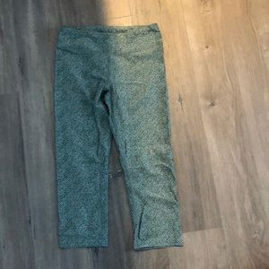 Green and white striped leggings
